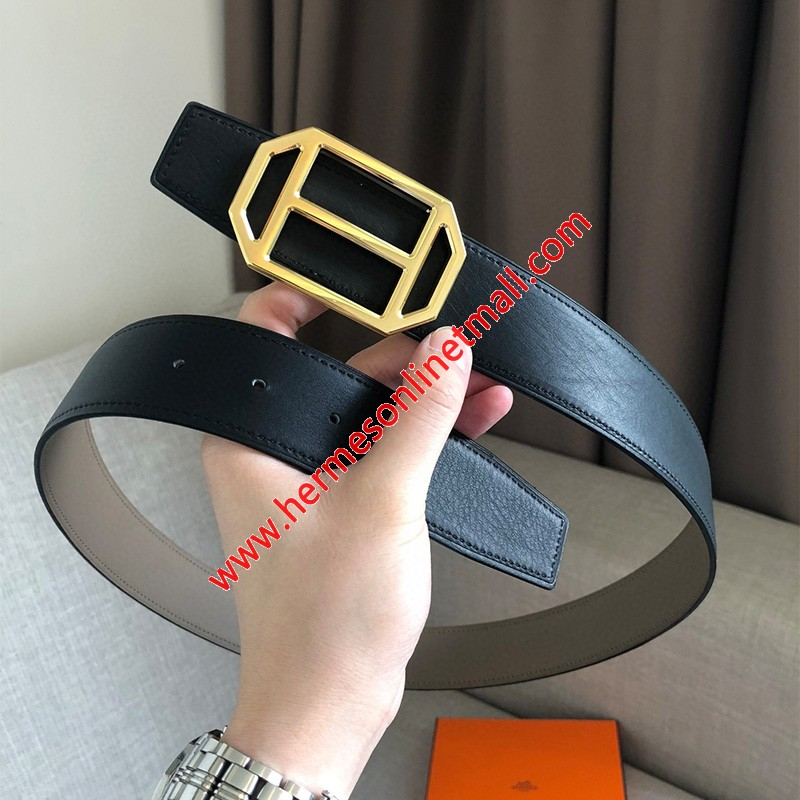 Hermes Pad Buckle 38MM Reversible Belt Togo Leather In Black/Grey