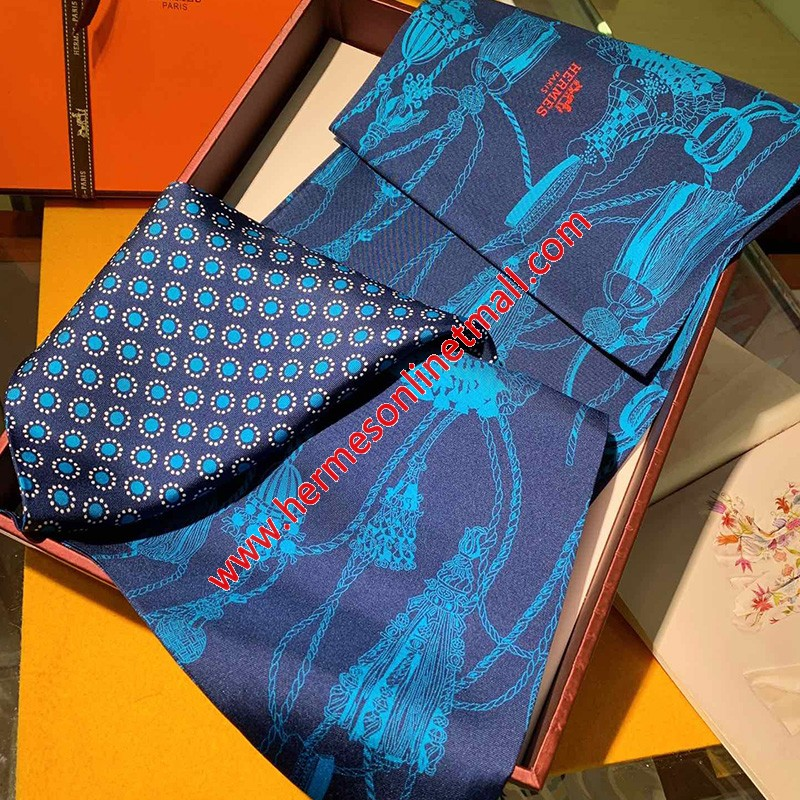 Hermes Passementerie Maxi-twilly Cut In Navy Blue