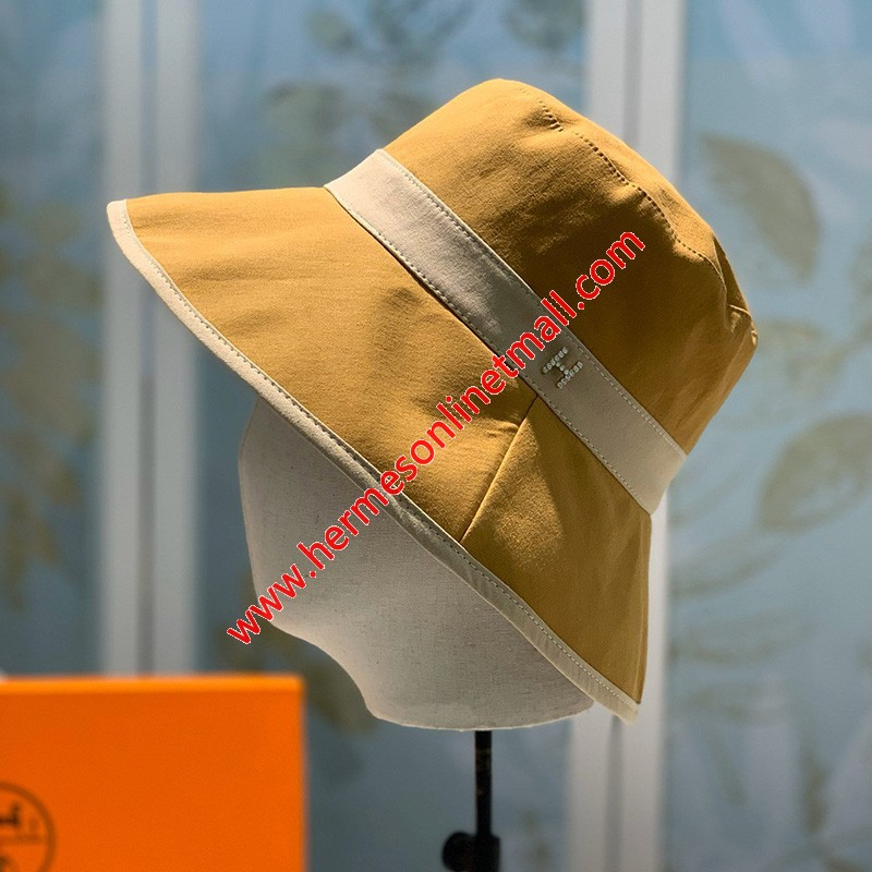 Hermes Crystal H Patchwork Bucket Hat In Yellow