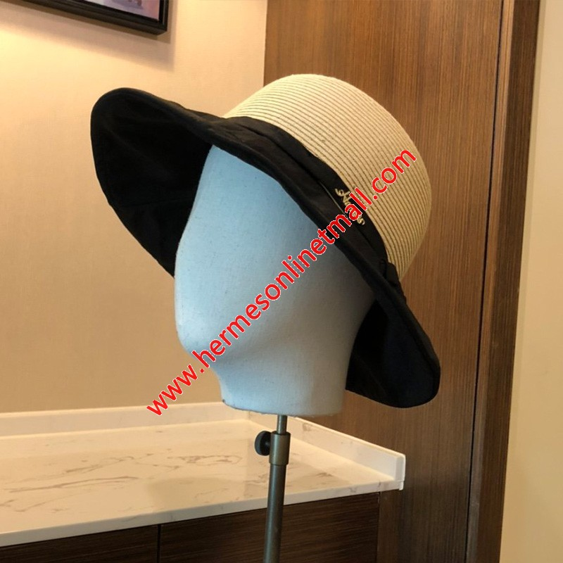 Hermes Bowknot Patchwork Straw Hat In Black