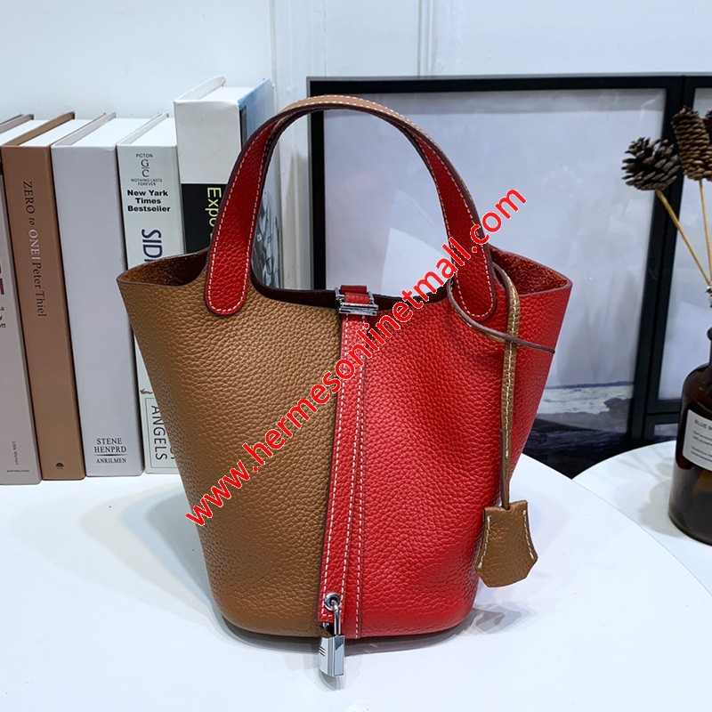 Hermes Picotin Lock Bag Bicolor Clemence Leather Palladium Hardware In Brown/Red
