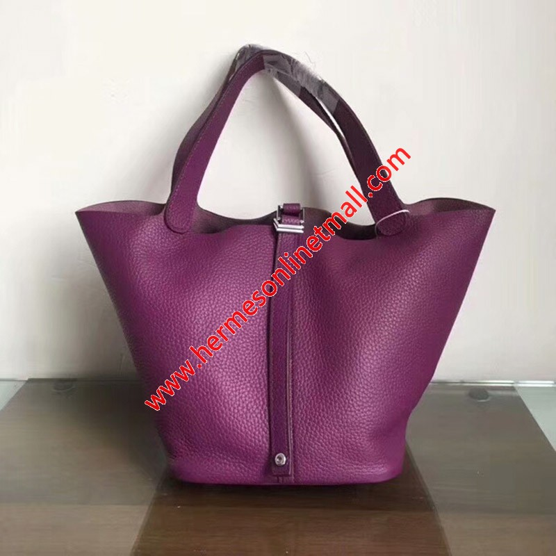 Hermes Picotin Lock Bag Clemence Leather Palladium Hardware In Purple