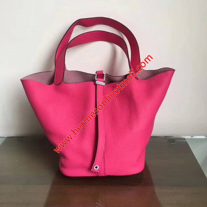 Hermes Picotin Lock Bag Clemence Leather Palladium Hardware In Rose