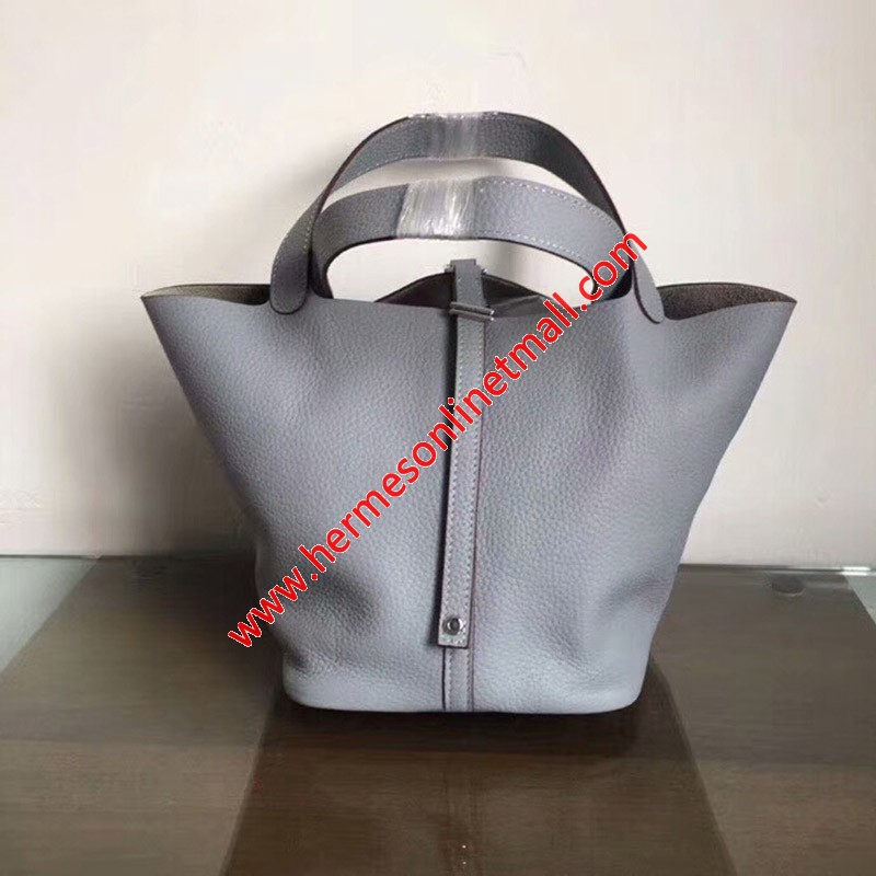 Hermes Picotin Lock Bag Clemence Leather Palladium Hardware In Sky Blue