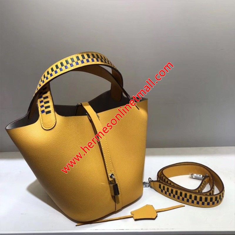 Hermes Picotin Lock Bag Tressage Epsom Leather Palladium Hardware In Yellow
