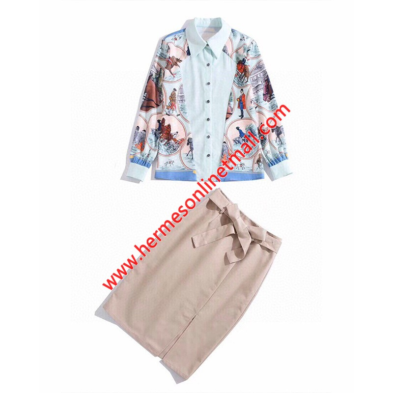 Hermes Printing Suits In Light Blue/Khaki