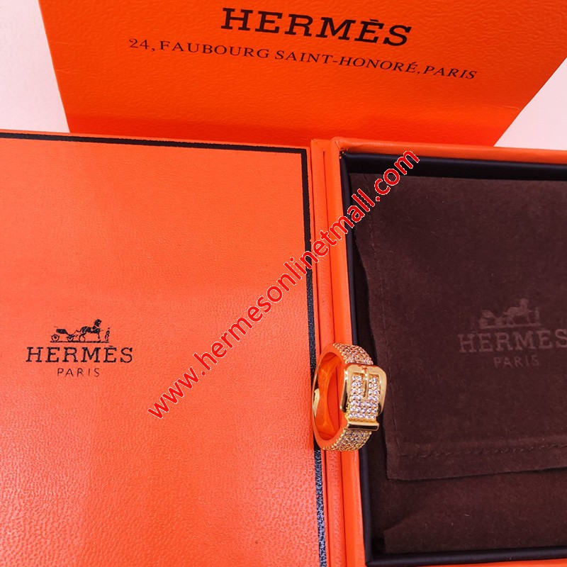 Hermes Ring With Crystal Gold
