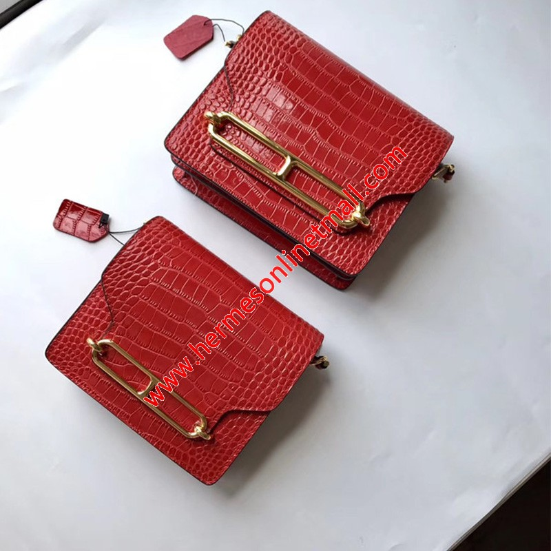 Hermes Roulis Bag Alligator Leather Gold Hardware In Red