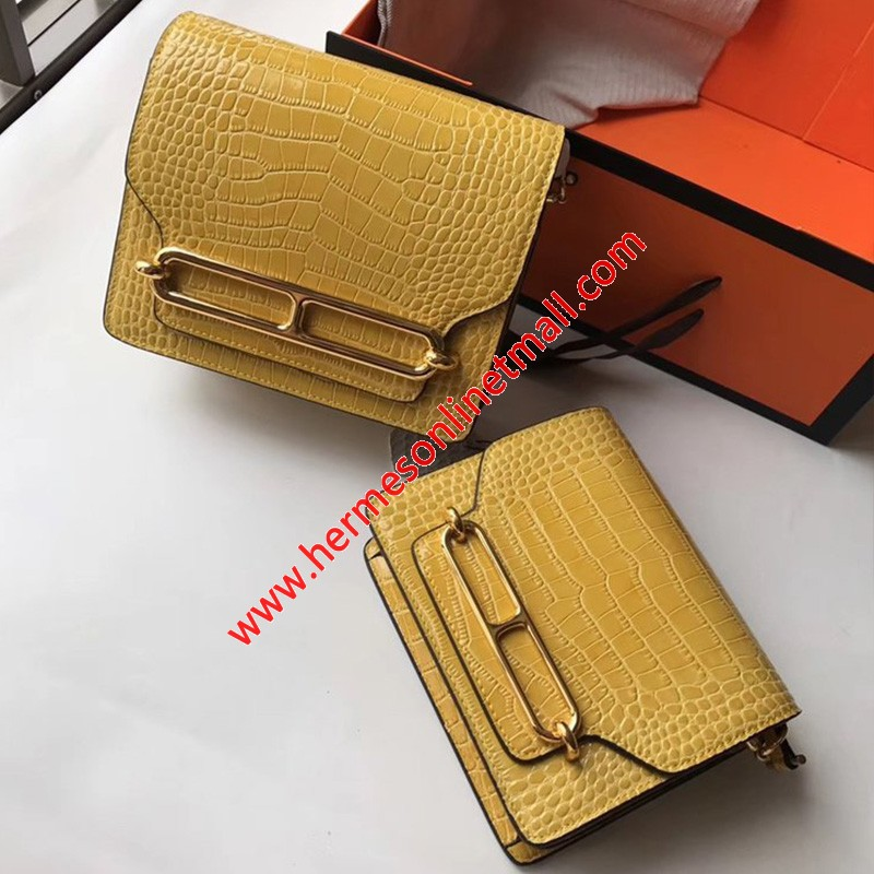 Hermes Roulis Bag Alligator Leather Gold Hardware In Yellow