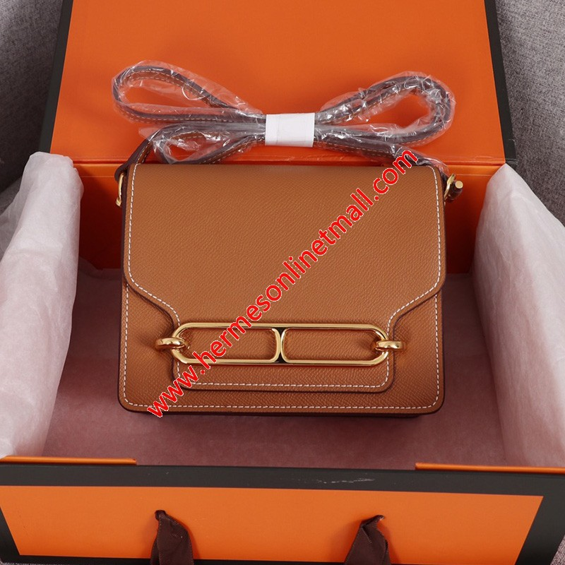 Hermes Roulis Bag Epsom Leather Gold Hardware In Brown