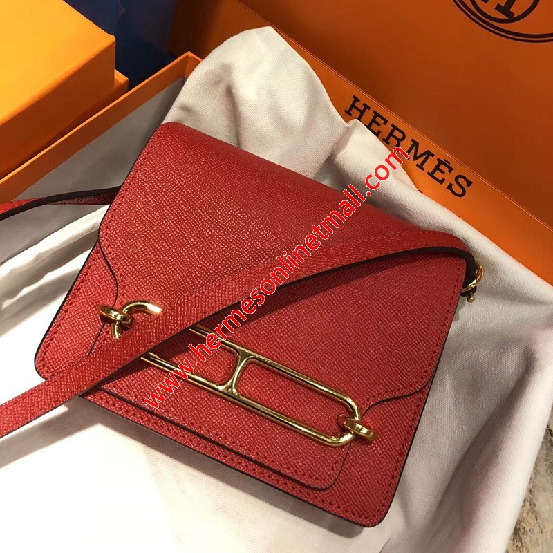 Hermes Roulis Bag Epsom Leather Gold Hardware In Red