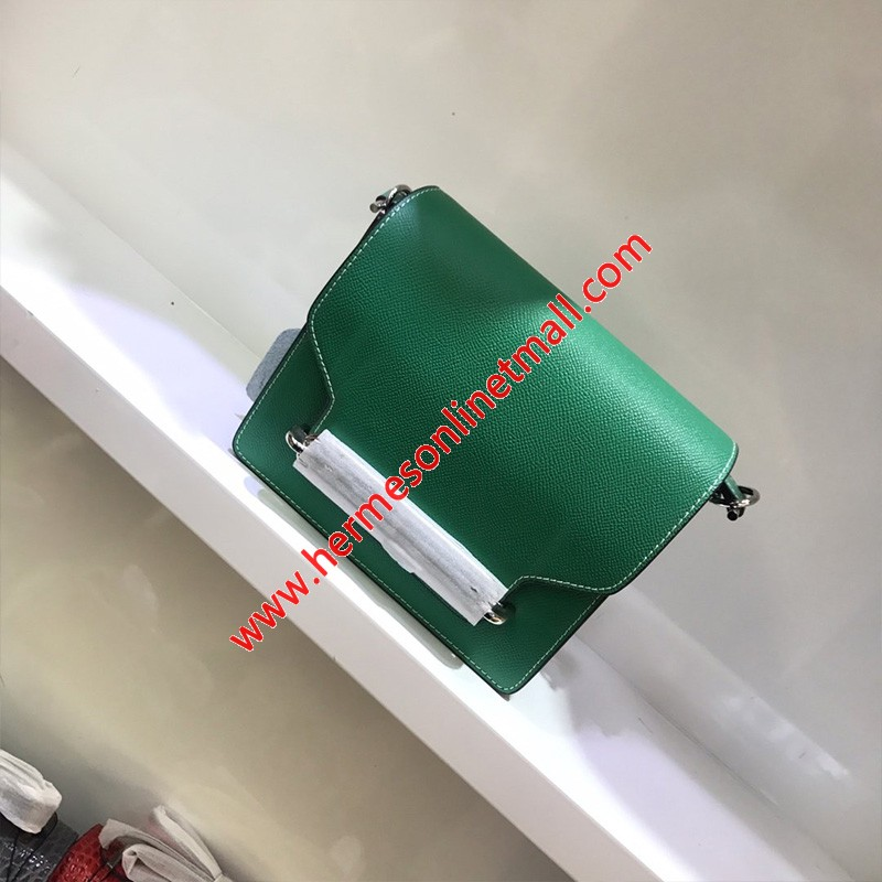 Hermes Roulis Bag Epsom Leather Palladium Hardware In Green