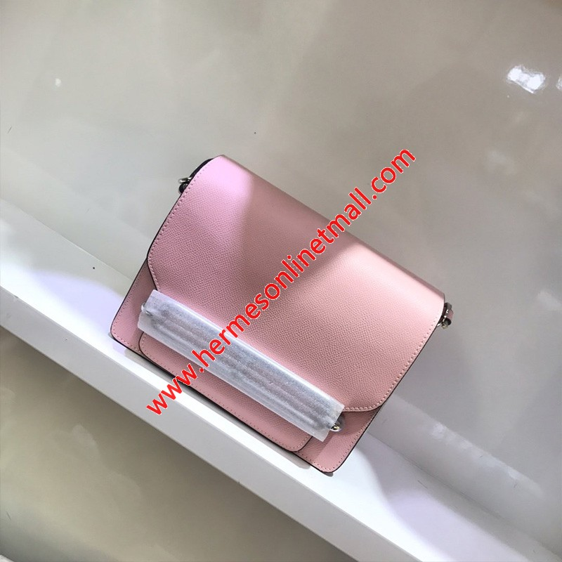 Hermes Roulis Bag Epsom Leather Palladium Hardware In Pink