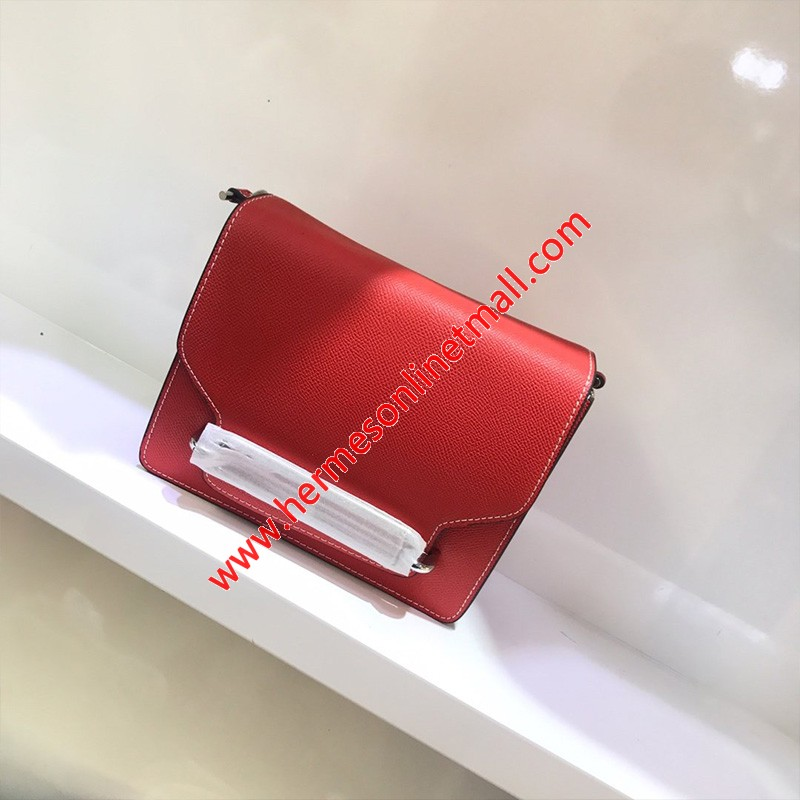 Hermes Roulis Bag Epsom Leather Palladium Hardware In Red
