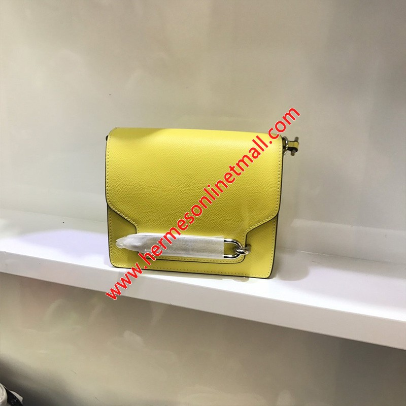 Hermes Roulis Bag Epsom Leather Palladium Hardware In Yellow