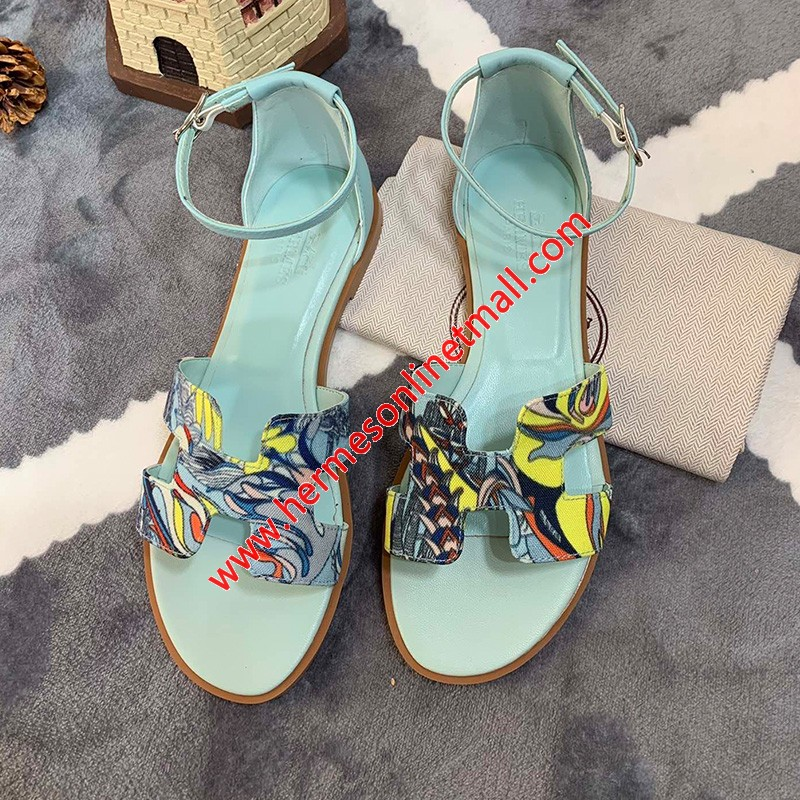 Hermes Santorini Sandal With Fantaisie Botanique Print And Calfskin In Blue