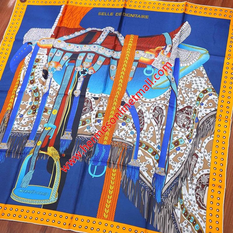 Hermes Selle De Dignitaire 90 Scarf In Blue