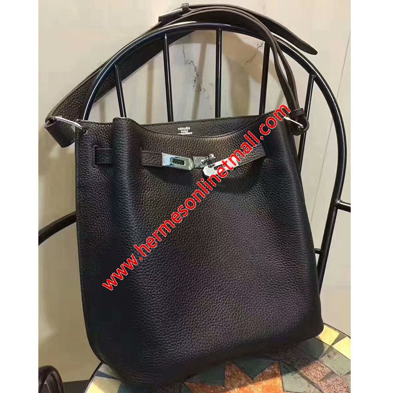 Hermes So Kelly Bag Togo Leather Palladium Hardware In Black