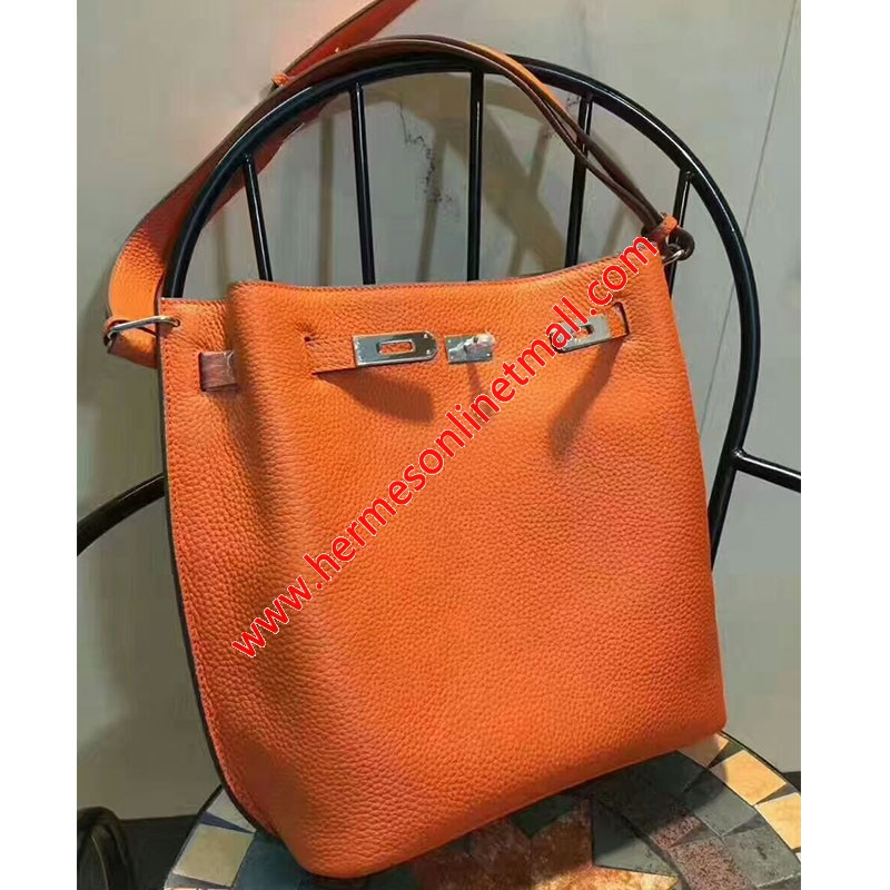 Hermes So Kelly Bag Togo Leather Palladium Hardware In Orange