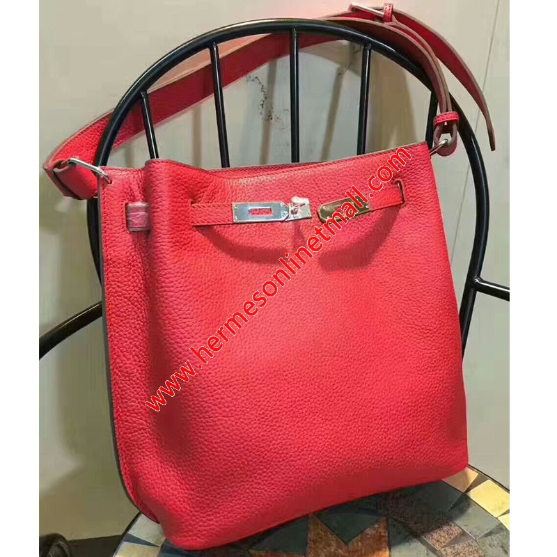 Hermes So Kelly Bag Togo Leather Palladium Hardware In Red