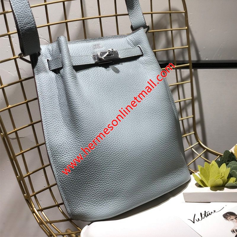 Hermes So Kelly Bag Togo Leather Palladium Hardware In Sky Blue