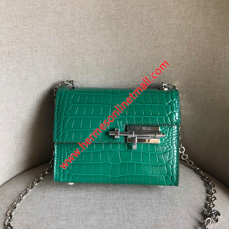 Hermes Verrou Chaine Mini Bag Alligator Leather Palladium Hardware In Green