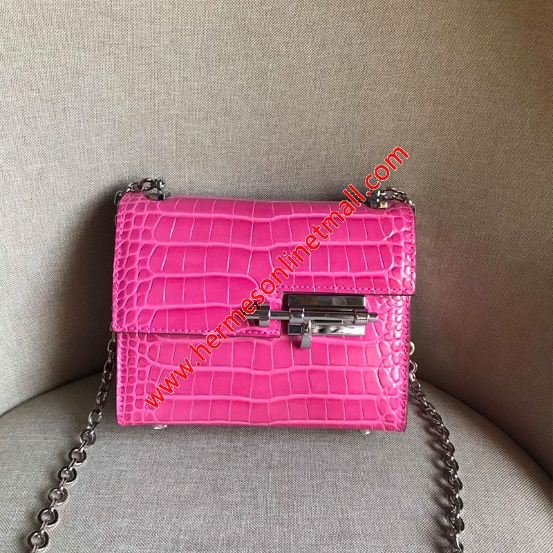 Hermes Verrou Chaine Mini Bag Alligator Leather Palladium Hardware In Pink