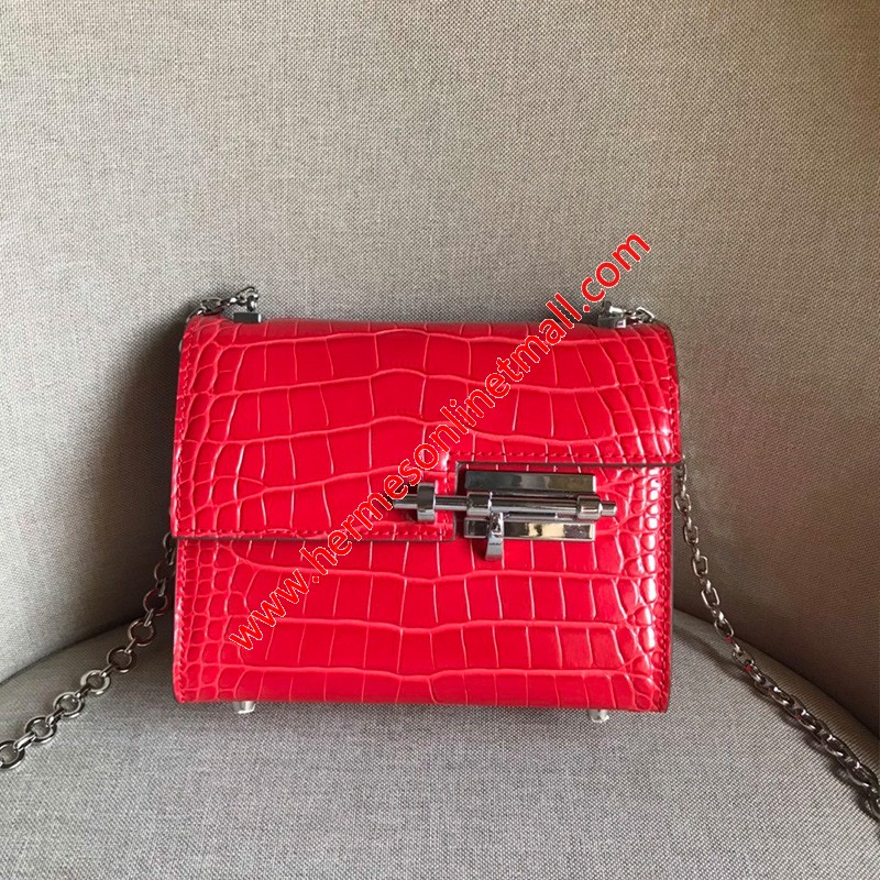 Hermes Verrou Chaine Mini Bag Alligator Leather Palladium Hardware In Red