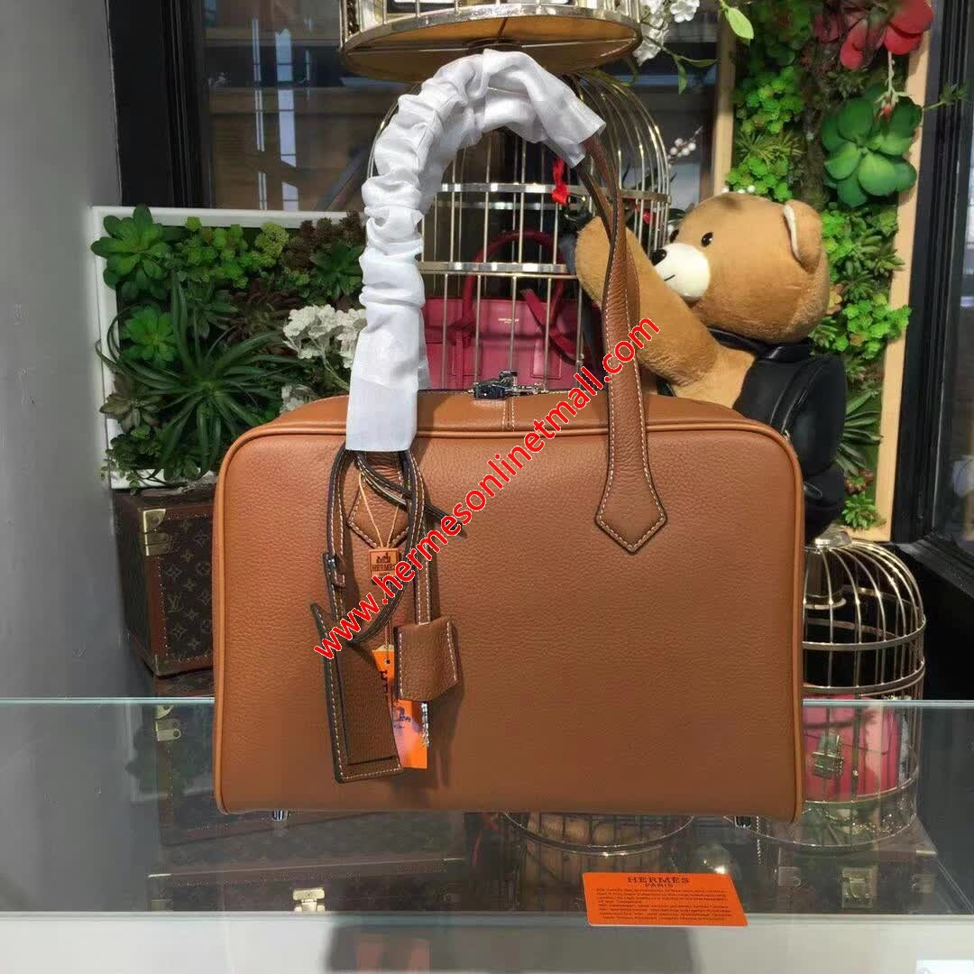 Hermes Victoria II Fourre-tout Bag Clemence Leather Palladium Hardware In Brown