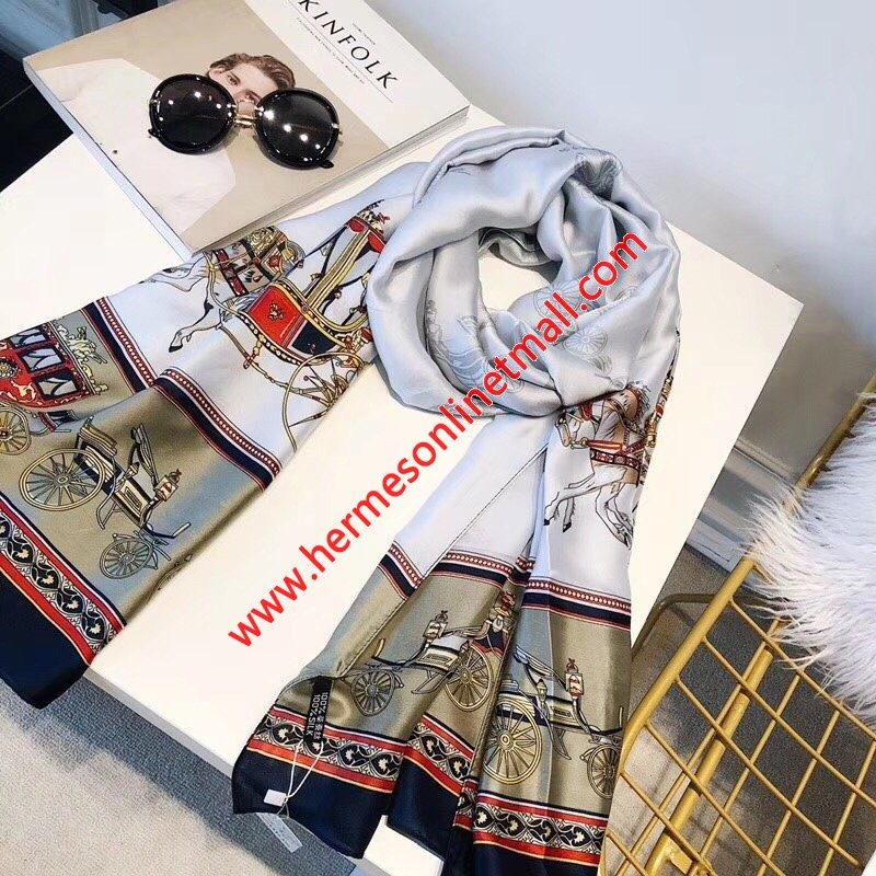 Hermes Voitures Exquises Silk Stole In In Grey