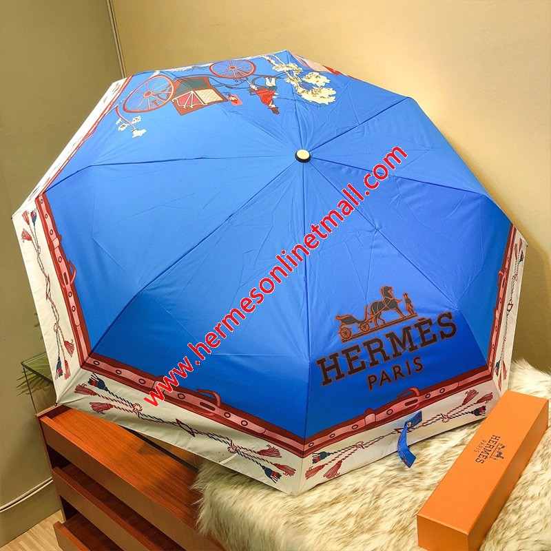 Hermes Voitures Exquises Umbrella In Blue