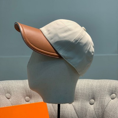 Hermes H Cotton Baseball Cap In Beige