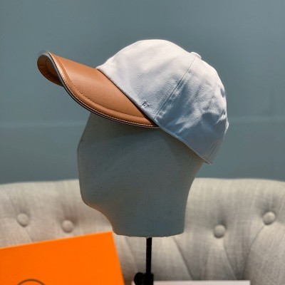 Hermes H Cotton Baseball Cap In White