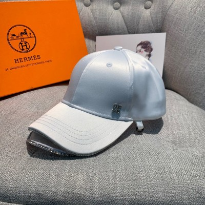 Hermes Crystal H Silk Baseball Cap In White