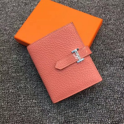 Hermes Bearn Compact Wallet Togo Leather Palladium Hardware In Cherry