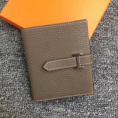 Hermes Bearn Compact Wallet Togo Leather Palladium Hardware In Marble