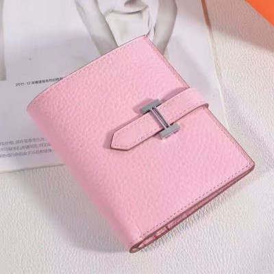 Hermes Bearn Compact Wallet Togo Leather Palladium Hardware In Pink