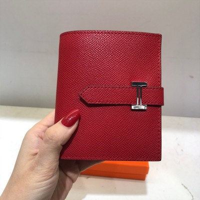 Hermes Bearn Compact Wallet Togo Leather Palladium Hardware In Red