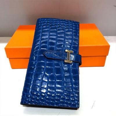 Hermes Bearn Wallet Alligator Leather Gold Hardware In Blue