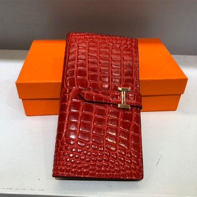 Hermes Bearn Wallet Alligator Leather Gold Hardware In Red