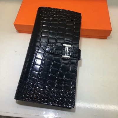 Hermes Bearn Wallet Alligator Leather Palladium Hardware In Black