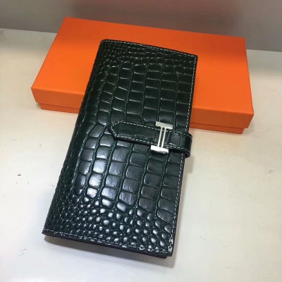 Hermes Bearn Wallet Alligator Leather Palladium Hardware In Green