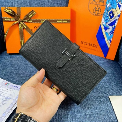 Hermes Bearn Wallet Togo Leather Palladium Hardware In Black