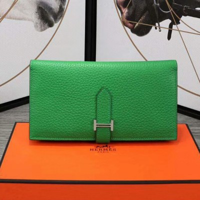 Hermes Bearn Wallet Togo Leather Palladium Hardware In Green