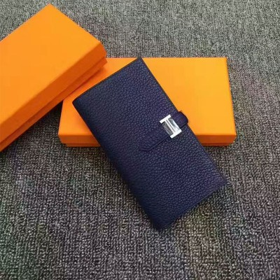 Hermes Bearn Wallet Togo Leather Palladium Hardware In Navy Blue