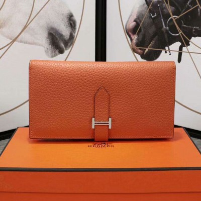 Hermes Bearn Wallet Togo Leather Palladium Hardware In Orange