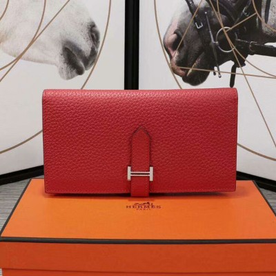 Hermes Bearn Wallet Togo Leather Palladium Hardware In Red