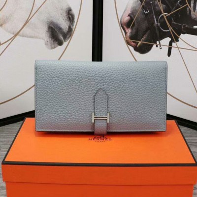 Hermes Bearn Wallet Togo Leather Palladium Hardware In Sky Blue