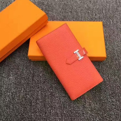 Hermes Bearn Wallet Togo Leather Palladium Hardware In Tangerine
