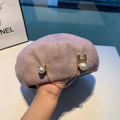 Hermes Pear Chain H Beret In Purple